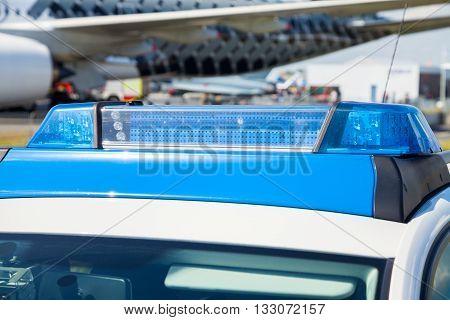 BERLIN / GERMANY - JUNE 3 2016: german police car stands on airport Schoenefeld / Berlin Germany on june 3 2016.