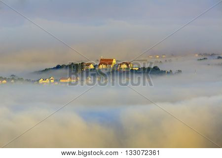 Dalat city in Central highland of Vietnam. Great view in mist