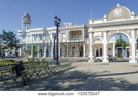 CIENFUEGOS - DECEMBER 2: Palacio Ferrer and Arco de Triunfo in Jose Marti Park on 2 December 2015 in Cienfuegos, Cuba.