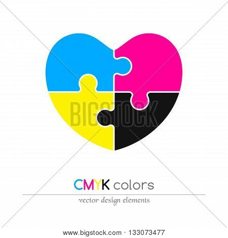 Puzzled heart in CMYK colors. Flat icon. Design element. Vector illustration.