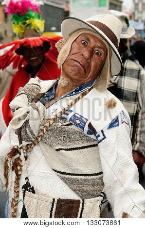 LA PAZ BOLIVIA - OCTOBER 29: Portrait of the participant in the parade in the capital city of Bolivia in the La Paz in South America in October 29 2011
