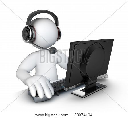 White abstract men support with headphones (done in 3d rendering)