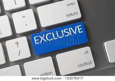 Exclusive Concept: Modern Keyboard with Exclusive, Selected Focus on Blue Enter Keypad. Keyboard with Blue Keypad - Exclusive. Exclusive Button on Modern Keyboard. 3D Render.