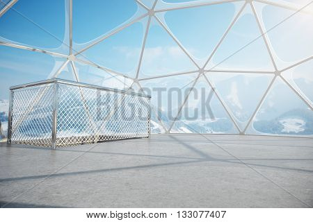 Empty penthouse interior with panoramic window and ceiling revealing snowy landscape view concrete floor and ladder railing. 3D Rendering