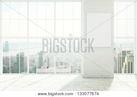 Empty white interior design with framed windows wooden floor and blank poster on brick wall. Mock up 3D Rendering