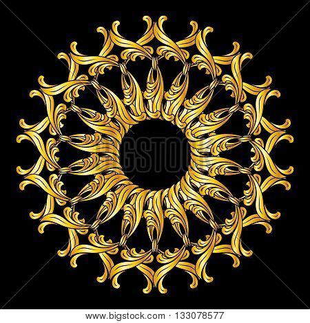 Ornate florid pattern in golden colors on black background