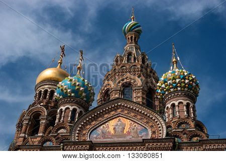 St. Petersburg Russia - May 8 2016: Church of the Savior on Spilled Blood. Dome closeup.