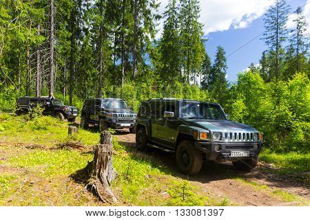 Leningrad oblast, Russia , June 4, 2016 , the first summer Out of St. Petersburg Hummer Club , the Hummer H3 is a compact four wheel drive off road and sport utility vehicle