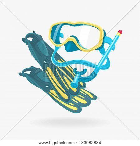 Vector Mask and Fins Diving Set eps 8 file format