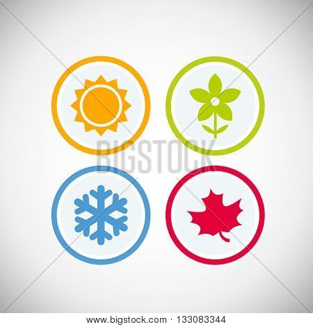 Four seasons icon symbol vector illustration. Weather forecast. Season simple elements