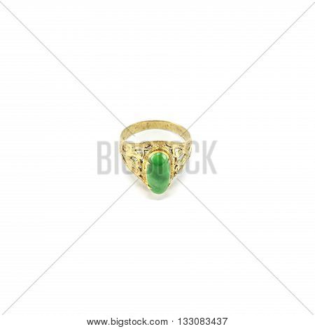 Closeup old green jade ring isolated on white background