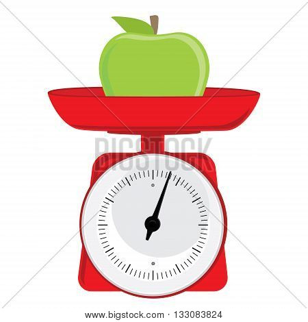Vector illustration red weight scale with green apple. Weighing scales with pan and dial for weight measurement. Kitchen appliances or measuring tool