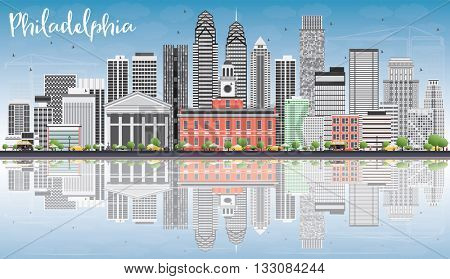 Philadelphia Skyline with Gray Buildings, Blue Sky and Reflections. Vector Illustration. Business Travel and Tourism Concept with Philadelphia City Buildings. Image for Presentation Banner Placard