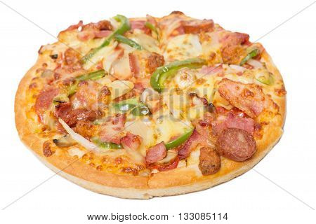 Pizza with sliced vegetables isolated on white background