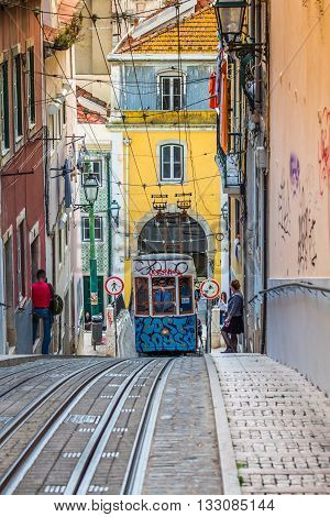 Lisbon Portugal-April 122015:Ascensor da Bica bairro alto lisboa portugal