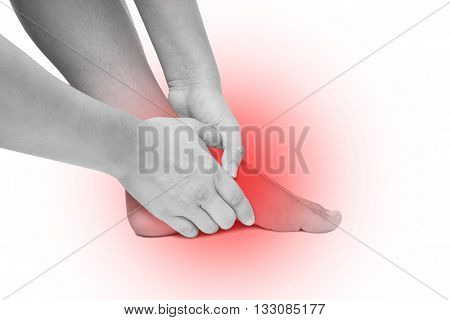 Acute pain in foot sole hand massage foot sole isolated white background