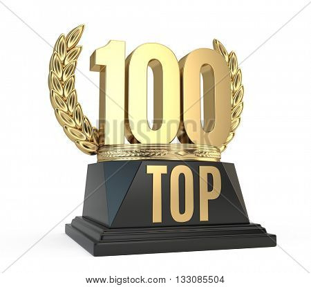 Top 100 hundred award cup symbol isolated on white background. 3d render
