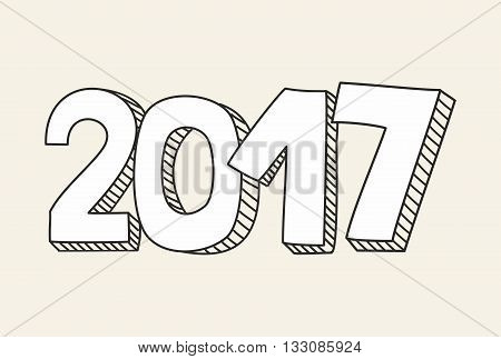 New Year 2017 hand drawn vector sign