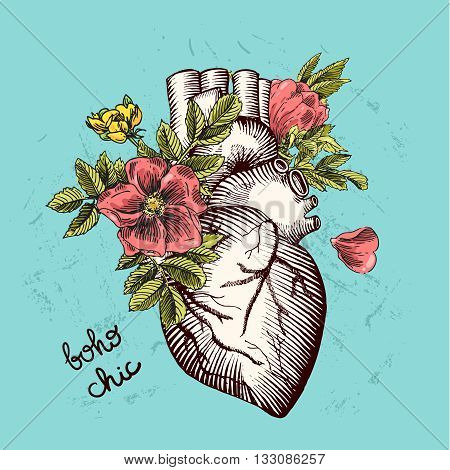 Valentines day card. Anatomical heart with flowers. Vector illustration boho style