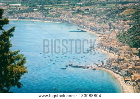 view of the beautiful coastline near the town of Taormina, Sicily, Italy.