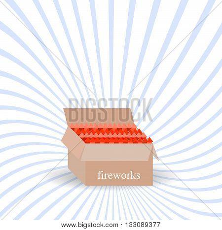 A box of fireworks.Vector illustration boom set
