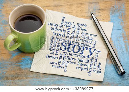story, legend and myth word cloud - handwriting on a napkin with a cup of coffee