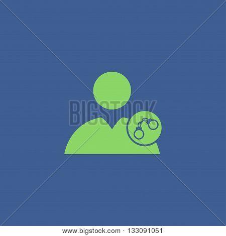 User icon handcuffs icon. Flat design style eps 10
