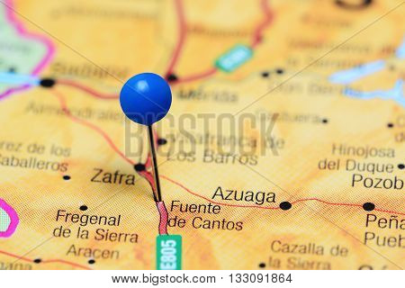 Fuente de Cantos pinned on a map of Spain