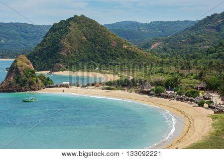 Tropical resort on Kuta sand beach, Lombok, Indonesia