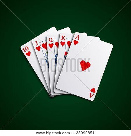 Pocker cards flush hearts hand vector eps 10