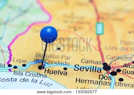 Huelva pinned on a map of Spain