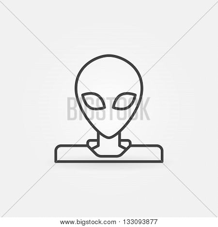 Alien linear icon - vector simple alien or invader symbol or logo element