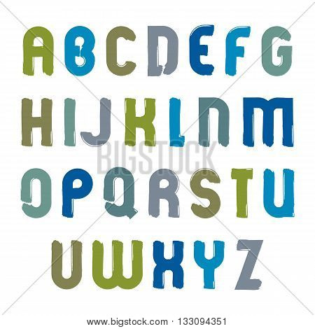Vector acrylic alphabet painted capital letters set hand-drawn colorful script bright cartoon drop caps drawn with ink brush.