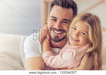 Dad And Daughter At Home