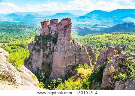 Vibrant image of Belogradchik cliff rocks near ancient Kaleto fortress, Bulgaria