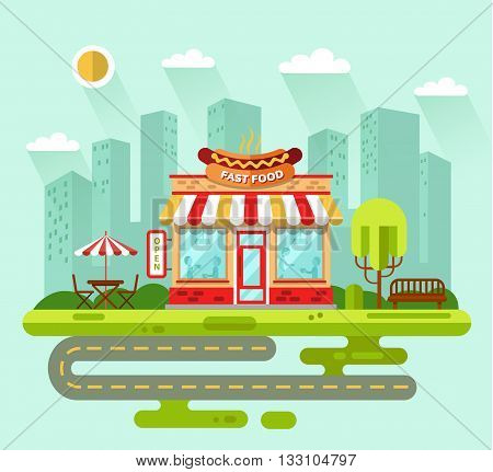 Vector flat style illustration of City landscape with nice fast food restaurant building, street with road, bench, trees, umbrella, table and chair. Signboard with big hotdog.
