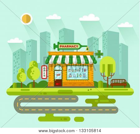 Vector flat style illustration of City landscape with pharmacy drugstore building, street with road, bench, trees and sun. Signboard with big syringe. Pharmacy vitrine with tablets, pills, potions.