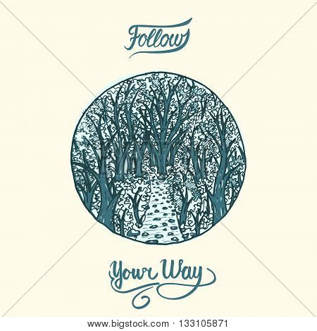 narrow path into deep woods, stylized hand drawn illustration in circle