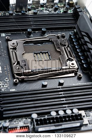 Modern CPU socket on the motherboard whithout processor.