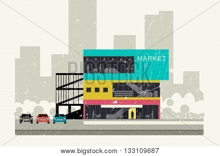Supermarket on the roadside grunge illustration. Store banner in flat style.