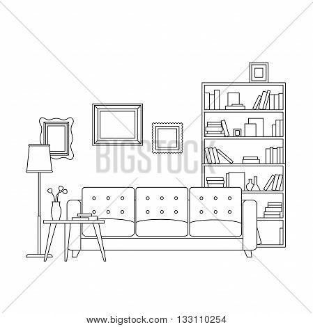 Line interior of living room with furniture. Vector thin illustration of living room.