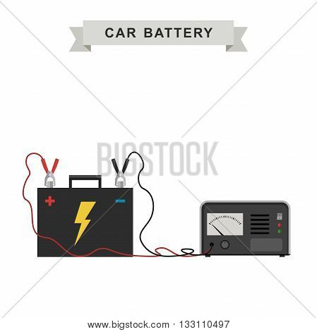 Car battery with connected cable for recharging. Vector illustration.