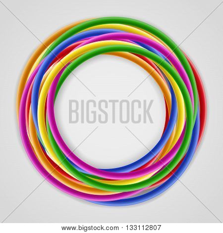 Abstract background with bright colored plastic wires twisted around, with place for text at the center, on gray background