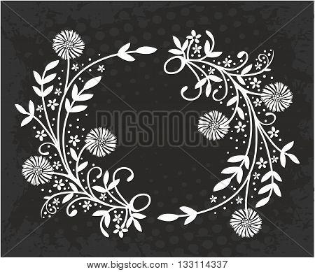 Vintage floral frame. Vintage elements for your design
