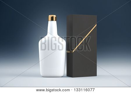 White cognac bottle and packaging without lables. Mock up 3D Rendering