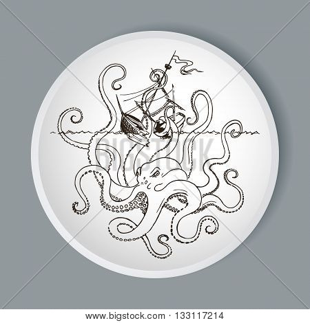 Octopus Kraken Attacks The Boat