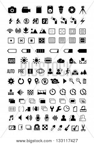 Photo camera mode setting options feature and symbols ultimate big icon set. Vector EPS8 collection
