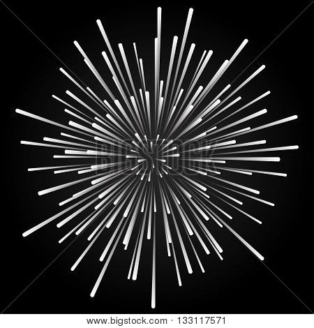 Star blast rays . Explosive vector illustration with dynamic shapes on black background