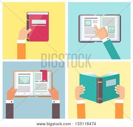 Set of hands holding books, vector illustration
