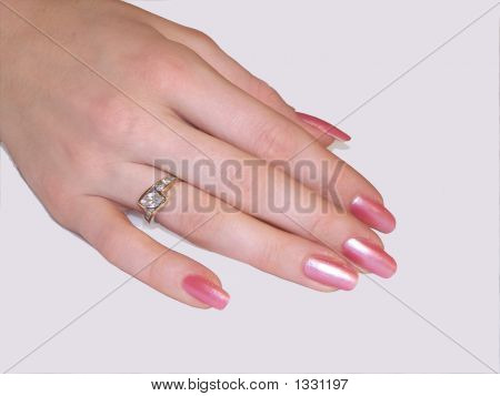 perfect female hand long fingers & pink polish poster